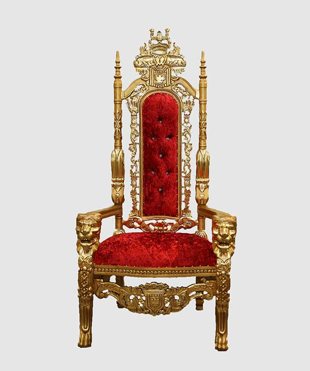 Red And Gold High Backed Throne Chair $1,553.00
