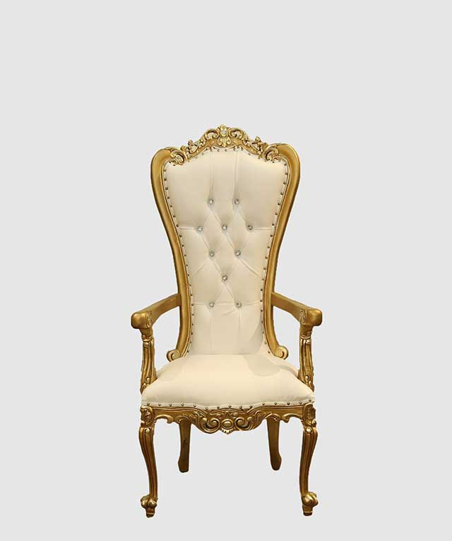 Click ... & White Queen Gold and White Throne Chair - Royalty Furniture Store